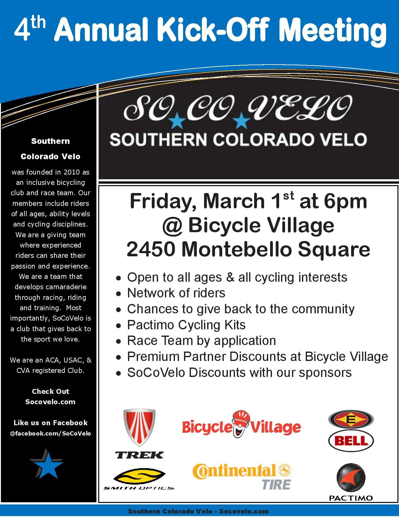 Southern colorado velo kickoff meeting colorado springs cycling southern colorado velo 2013 annual meeting flyer stopboris Choice Image